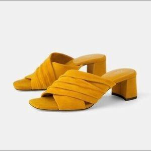 Zara Mustard Low Heeled Sandals